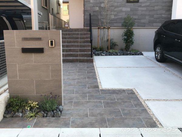 600×300のタイル階段・アプローチ、W1000の門柱   名古屋市天白区   施工事例   ハウジングセンターミウラ